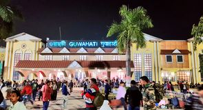 Guwahati railway station. Crowd of travellers at Guwahati railway station, the capital city of Assam, one of the important town of north-east India royalty free stock photography