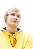 The guy. The smiling guy in a yellow jacket Royalty Free Stock Photos