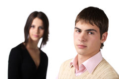 Guy. A photo of a young man and a girl on background Royalty Free Stock Photography