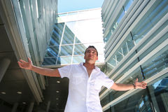 Guy. Handsome young guy near modern building Royalty Free Stock Image