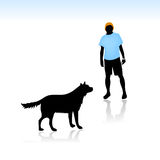 Guy afraid of dog. Vector illustration for a guy who is afraid of dogs and is in a dangerous situation Royalty Free Stock Photography