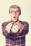 Guy with alarm clock. Royalty Free Stock Photos