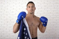 Guy with American flag royalty free stock photos