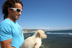 Guy And His Dog Royalty Free Stock Photo