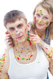 Guy And His Girl Friend Painted With Paints Stock Photo