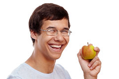 Guy with apple Royalty Free Stock Photos
