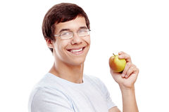 Guy with apple headshot Royalty Free Stock Photo
