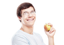 Guy with apple headshot Royalty Free Stock Images
