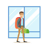 Guy Arriving WIth Big Backpack And Handbag, Part Of Airport And Air Travel Related Scenes Series Of Vector Illustrations Stock Photography