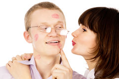 The guy ask his girl kiss him Stock Photos