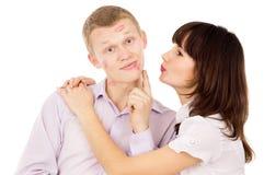 Guy asks his girl kiss him Stock Photo