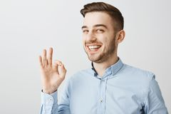 Guy assuring coworker work be done in time. Pleased good-looking young male in blue shirt showing okay or excellent. Gesture smiling broadly confirming stock photos