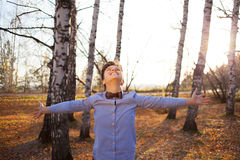 Guy on background of autumn forest Stock Image
