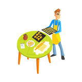 Guy Baking Cookies. Fun Illustration In Simple Childish Style Flat Vector Design On White Background Royalty Free Stock Image