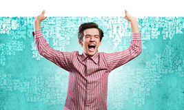 Guy with banner Royalty Free Stock Photo
