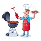 Guy Barbecuing Hamburgers and Hot Dogs. Cartoon of a guy in chef's hat holding up a platter of grilled hamburgers and hot dogs with one hand and a hot dog stock illustration