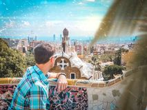 The guy in Barcelona Park Guell. Travel to Spain. View of the city. stock images