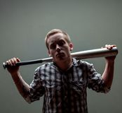 Guy with a baseball bat Royalty Free Stock Images