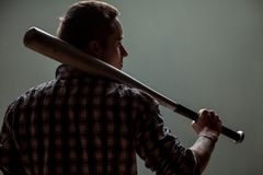 Guy with a baseball bat Stock Photography