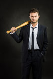 A guy with a bat Royalty Free Stock Images