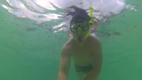 The guy bathe in the sea with fish. Scuba diving in masks. PHANGAN, THAILAND. Tropical island stock video footage