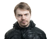 Guy with beard and black jacket. Stock Photos