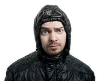Guy with beard and jacket with hood. Stock Photos