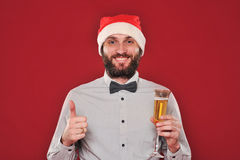 Guy with a beard wishes Merry Christmas Stock Photos