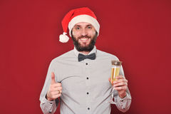Guy with a beard wishes Merry Christmas Royalty Free Stock Photos