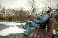 The guy on a bench Royalty Free Stock Photography