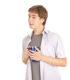 Guy with big blue cup Stock Photography