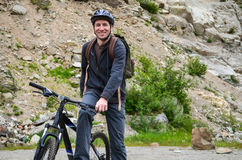 Guy on a bike Royalty Free Stock Image