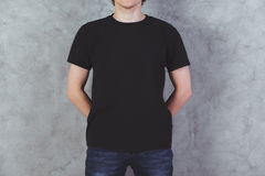 Guy in black t-shirt Royalty Free Stock Photography