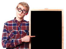 Guy with blackboard. Stock Photography