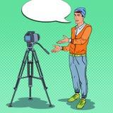 Guy Blogger Recording Video Vlog à moda Ilustração do pop art ilustração stock