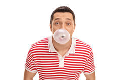 Guy blowing up a bubble royalty free stock images