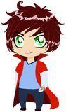 Guy In Blue Clothes Wearing Red Cape. A vector illustration of a young guy in blue shirt and pants wearing red cape royalty free illustration