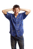 Guy in the blue shirt series. Screaming guy in the blue shirt close his ears because of too noise over white background Stock Image