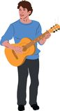 The guy in the blue sweater on guitar Royalty Free Stock Image