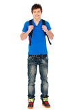 Guy in blue t-shirt and jeans royalty free stock images