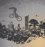 Guy with bmx. On city landscape with splash Stock Photo