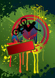 Guy on a bmx and city background with splash Stock Images