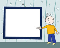 Guy and board. Cheerful guy in front of frame with empty space for your text Stock Images