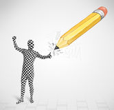 Guy in body mask with a big hand drawn pencil Royalty Free Stock Images