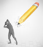 Guy in body mask with a big hand drawn pencil Royalty Free Stock Photos