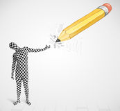 Guy in body mask with a big hand drawn pencil Royalty Free Stock Image
