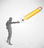 Guy in body mask with a big hand drawn pencil Stock Images