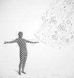 Guy in body suit morphsuit looking at sketches and doodles. Funny guy in body suit morphsuit looking at sketches and doodles Stock Photography