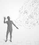 Guy in body suit morphsuit looking at sketches and doodles Royalty Free Stock Photography