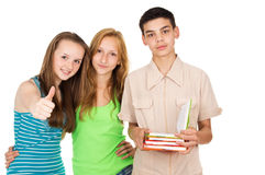 Guy with books and friends Stock Photography